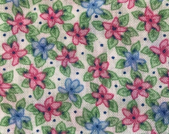 1 Yard of Vintage Off white with Pink and Blue Flowers Cotton Fabric