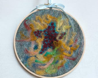 Starfish and coral felted painting