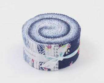 SALE 2.5 inch strips BLUE CAROLINA Jelly Roll fabric by Riley Blake Christopher Thompson Tattooed Quilter 40 strips