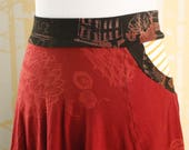 Horseshoe Skirt, choose your size in cranberry red, black, and honey striped organic cotton jersey