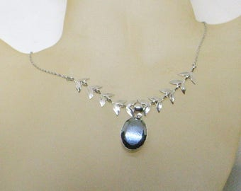 Vintage Hematite Necklace AND Earrings - Sterling Silver - Original Box - Dangle Screw Back Earrings - Great Condition