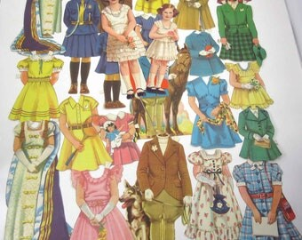 Vintage 1930s Princess Elizabeth and Princess Margaret Paper Dolls with Outfits and Accessories
