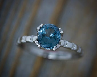 Blue Spinel Ring, Gemstone White Gold Vintage Inspired Solitaire, Split Prong Palladium and Gold, Gemstone Engagement Rings