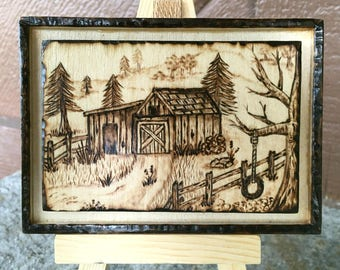"Woodburned Barn Scene with Stand - 4"" by 2.75"" -  Pyrography"