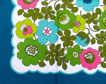 original 70s kitchen tablecloth (blue) ±90x90cm