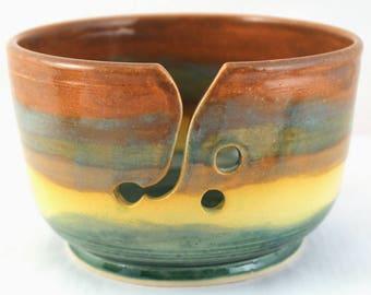 Wheel Thrown Stoneware Pottery Yarn Bowl Yellow Turquoise Brown OOAK Hand Made