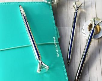 Diamond Top Silver Ballpoint Pen