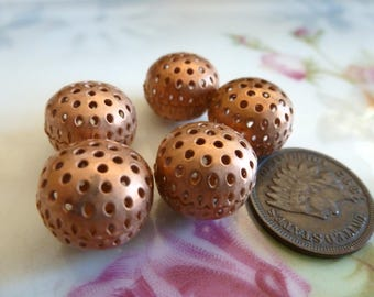 3 Vintage Raw Unplated Copper Tone Brass Perforated, Hole Beads, Jewelry Findings, 11x13mm, 3 pcs (C40)