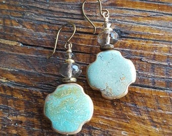 Turquoise Cross Earrings - Bronze - Santa Fe Style - Smokey Quartz - Southwestern - Cowgirl Jewelry by Heart of a Cowgirl