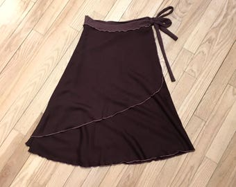 SALE! 50% OFF - Brown Bamboo Fleece Midi Wrap Skirt
