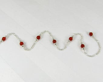 Carnelian and Sterling Silver Chain Adjustable Anklet