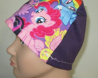 Kid's Chemo Hat My Little Pony Purple Back Children's Cancer Cap, Alopecia, Sleep Cap