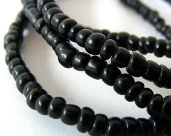 antique strand  BLACK MAASAI seed beads, size 8, from Kenya Africa, trade beads, Hudson trade, Native American beads