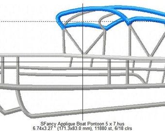 SFancy Applique Pontoon Boat 5 x 7