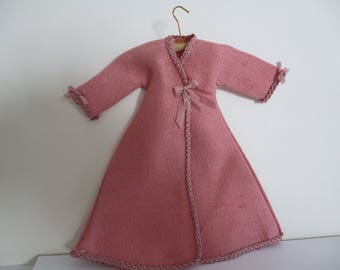 A Victorian Style  Rose Pink Wild Silk Tea Gown (with coat hanger) one 12th scale