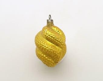 Vintage Christmas Glass Ornament Fancy Gold Tree Decoration