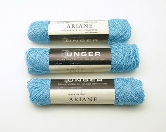 Vintage Italian Yarn Metallic Blue Yarn Ariane Italy Unger