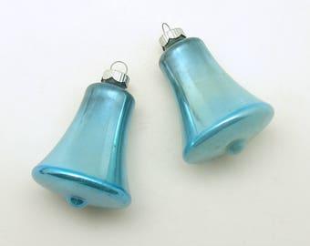 Vintage Christmas Ornaments Aqua Glass Bells Shiny Brite