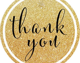DIY Printable File- Glitter Gold and Black Thank You Stickers, Tags, Labels- AVERY LABEL 22807