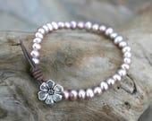 Pink Freshwater Pearl Leather Wrap Bracelet, Leather and Pearl Jewelry, Pink Pearl Bracelet, June Birthstone Bracelet, Flower Bracelet