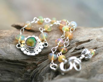 Ethiopian Opal Gemstone Bracelet,Sterling Silver Wire Wrapped Opal Bracelet,Birthstone Bracelet, October Birthstone,Petite Stacking Bracelet