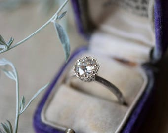 1ct Solitaire Art Deco Engagement Ring | 1 carat Forever One Moissanite | Diamond Alternative Octagon Setting White Gold Engagement Ring