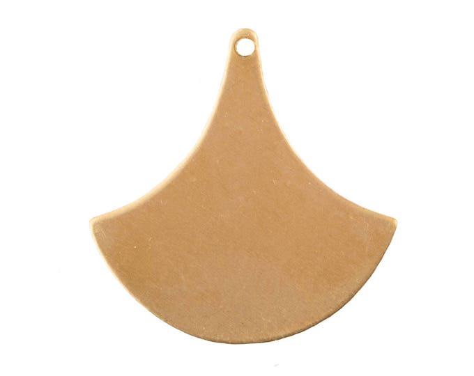 Raw Brass Flat Fan Pendant Drops 20x19mm (6) mtl515A
