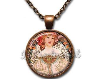 25% OFF - Mucha's Painting Reverie Paris Glass Pendant Necklace Square Round AP159