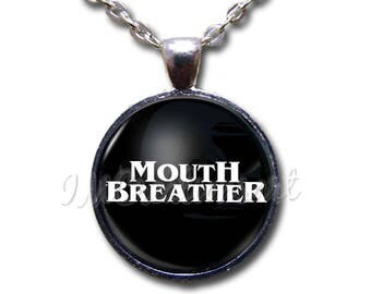 Mouth Breather Black Glass Dome Pendant or with Chain Link Necklace WD192