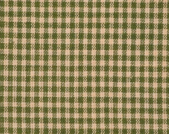 FLAWED Homespun Fabric | Cotton Homespun Fabric | Quilt Fabric | Green And Tea Dye Small Check | 19 x 44