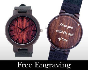 Set of 10 watches, Wooden Watch, Engraved Watch, Wood Watch, Engraved Wood Watch, Dark Wood, Personalized Gift, Christmas, Gifts For Him