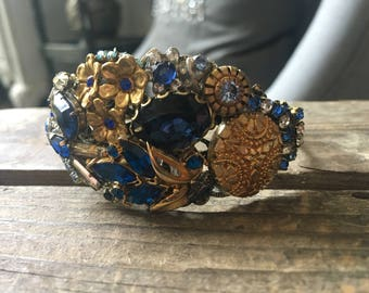 Afternoon Walk Vintage Assemblage Collage Cuff Bracelet Blue Gold Silver Floral One of a kind