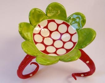 colorful pottery Candleholder -or- Soap Dish with long curly polka-dot legs Red & Lime ceramic home decor