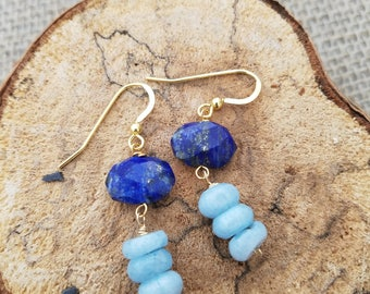 Lapis Stone and Amazonite Gold  Vermiel Earrings