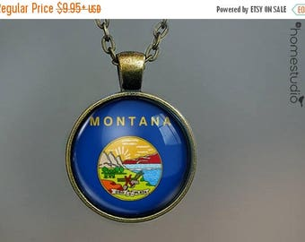 ON SALE - Montana Flag : Glass Dome Necklace, Pendant or Keychain Key Ring. Gift Present metal round art photo jewelry by HomeStudio