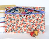 Pink Floral Makeup Bag Pencil Case Handmade with Rifle Paper Co Fabric