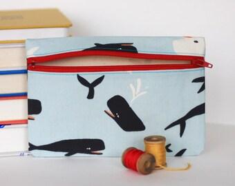 SALE - Whale Zipper Pouch Wallet Nautical Bag Accessory Case