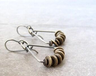 silver and brass earrings, mixed metal jewelry, oxidized silver earrings, sterling ear wires, boho dangle earrings, metal earrings