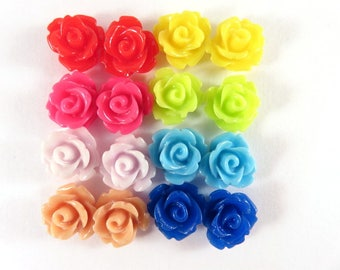 BOGO - 16 Rose Flower Cabochon Bead Flower Bead 10mm Assortment - No Holes - 16 pc - CA2006-AS20 - Buy 1, Get 1 Free - No coupon required