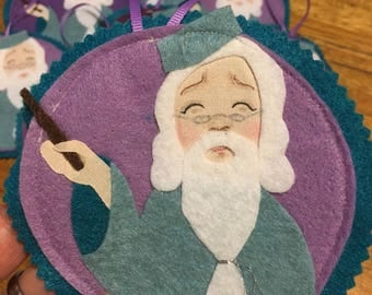 Professor Dumbledore- Harry Potter Christmas Tree Ornament, felt hand drawn wall hanging, Scabbers wizard Hogwarts