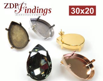 4pcs x Pear Shape 30x20mm Bezel Post Earring Settings Fit Swarovski 4327 Crystal, Choose Your Finish (POPR3020V)