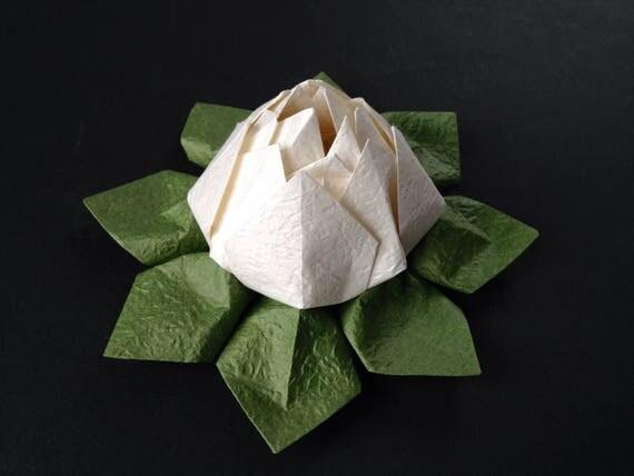 Origami Lotus Flower - White, Japanese Special Momigami, Anniversary, Hostess Gift, Birthday Gift, Table Decor, Handmade, Housewarming gift