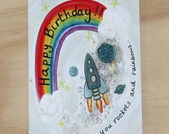 "Happy Birthday, 'wishing you rockets and rainbows"" card"