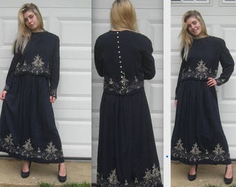 2 piece dress . 80s dress. embroidered Dress . skirt and cropped top . Marie St. Claire . size 10 . embroidered folk dress