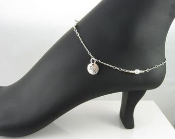 Sorority Anklet, Sterling Silver Ankle Bracelet with Freshwater Pearls,Bid Day/Initiation,Big Sister,Little Sister/OLP