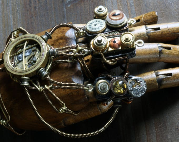 Steampunk Mechanical hand Scupture - Time travelling glove apparatus - Featured in the LARPs series on Geek and Sundry