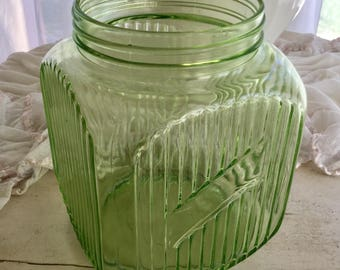 Green Depression Glass Jar Cookie Biscuit Large