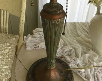 Bronze or Copper Art Deco Lamp with Pink Glass Shade