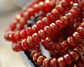 NEW! Mistletoe Kisses - Premium Czech Glass Beads, Red Opaline, Metallic Antique Gold Finish, Firepolish Rondelles 5x3mm - Pc 30