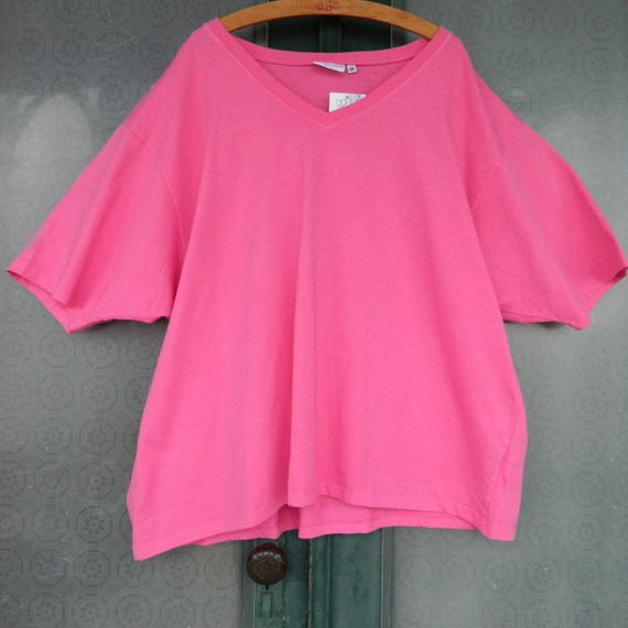 Clearwater Cotton Relaxed V-Neck Tee -XXL- Bright Pink Cotton Jersey NWT